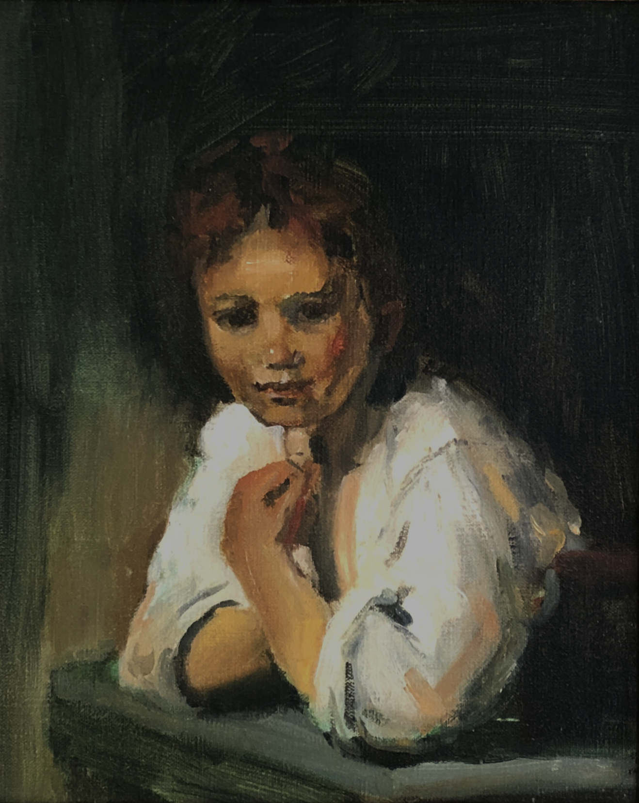 'A girl at a window', naar Rembrandt, 1995, 25 x 30cm